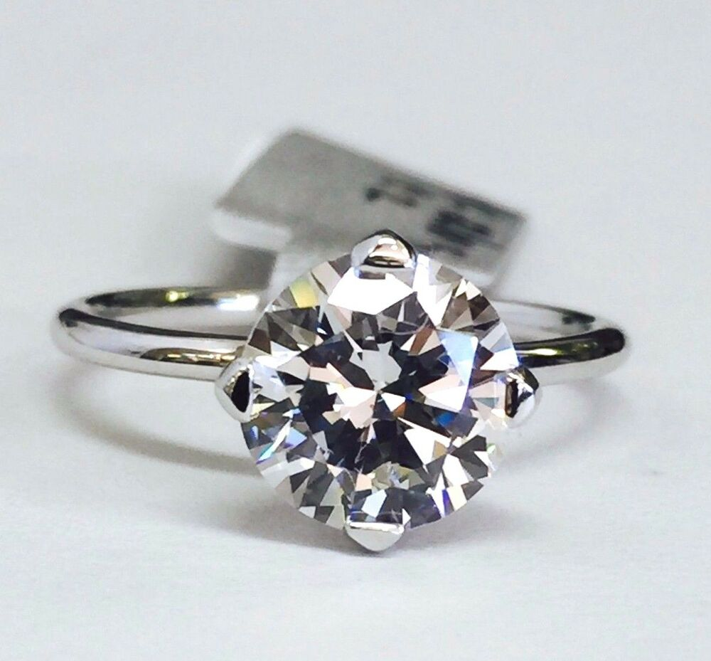 14K White Gold Round Solitaire Cubic Zirconia Engagement Ring 8mm  2ct CZ Size  eBay