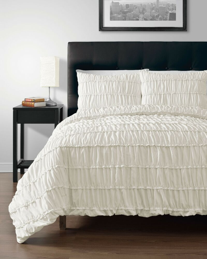 Ruched CREAM 3pc Comforter Set Full Queen King CalKing Size Bed  eBay