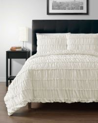 Ruched CREAM 3pc Comforter Set Full, Queen, King, Cal-King ...