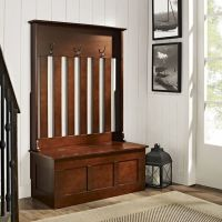 Hall Tree Storage Bench Coat Rack Stand Organizer Entryway