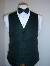 Hunter Green Formal Vest and Tie set - Tone on Tone Four ...
