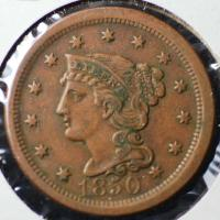 1850 United States Braided Hair, Large Cent, FREE SHIPPING ...