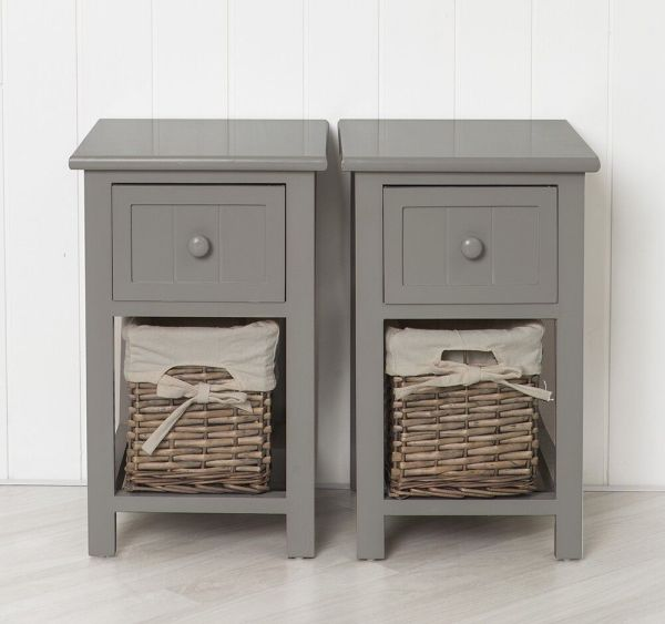 Grey Bedside Table with Drawer