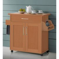 Kitchen Island Cart On Wheels With Wood Top Rolling ...