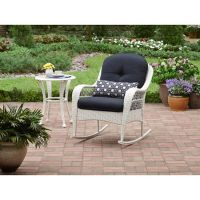 Outdoor Rocking Chair Wicker White Porch Rocker With ...