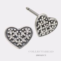 Authentic Pandora Silver Pave Heart Clear CZ Stud Earrings ...