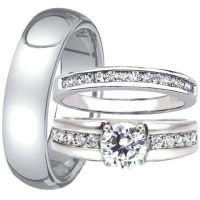3 Pc His and Hers Engagement Wedding Ring Band Set Men's ...