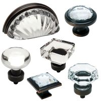 Cosmas Clear-Oil Rubbed Bronze Glass Cabinet Knobs, Cup ...