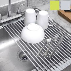 Kitchen Dish Drying Mat Metal Trash Can Home&co Rollup Multipurpose Over Sink ...