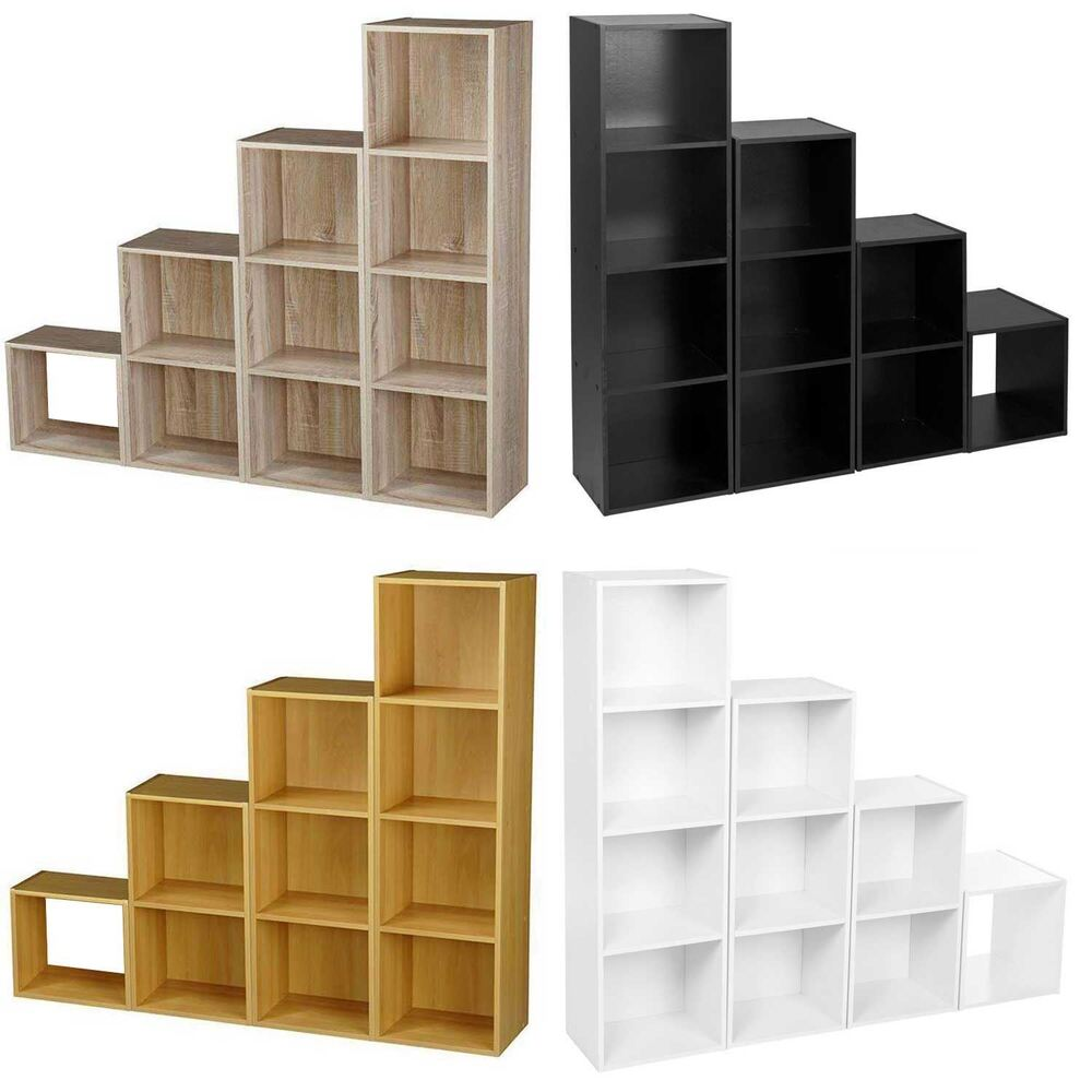 Wooden Storage Unit Cube 2 3 4 Tier Strong Bookcase