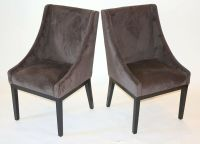 SET OF 2 Modern BROWN Arm Slipper Dining Sofa Chair Accent ...