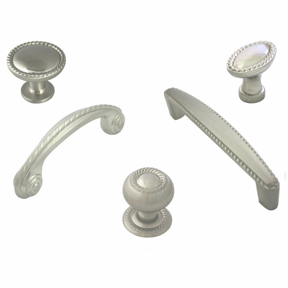 Cosmas Satin Nickel Scroll Rope Cabinet Hardware Knobs
