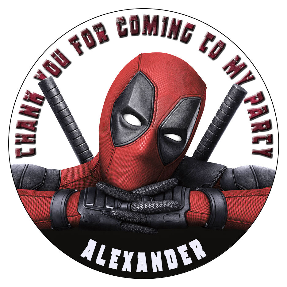 Personalised Deadpool Stickers Birthday Party Thank You
