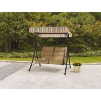 Outdoor Swing With Canopy Cover And Pullout Ottomans Tan ...