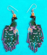 """PEACOCK"" NATIVE AMERICAN INDIAN BEADED EARRINGS 
