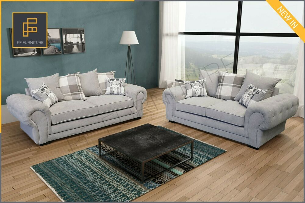 NEW VERONA SOFA SET 3+2 SEATER FABRIC LIGHT GREY(SILVER