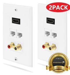 details about fosmon 2x 1 4 hdmi rca mono audio coaxial dual ethernet rj45 wall plate for hdtv [ 1000 x 1000 Pixel ]