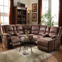 Living Room Full Reclining Home Theater Set Two Toned ...