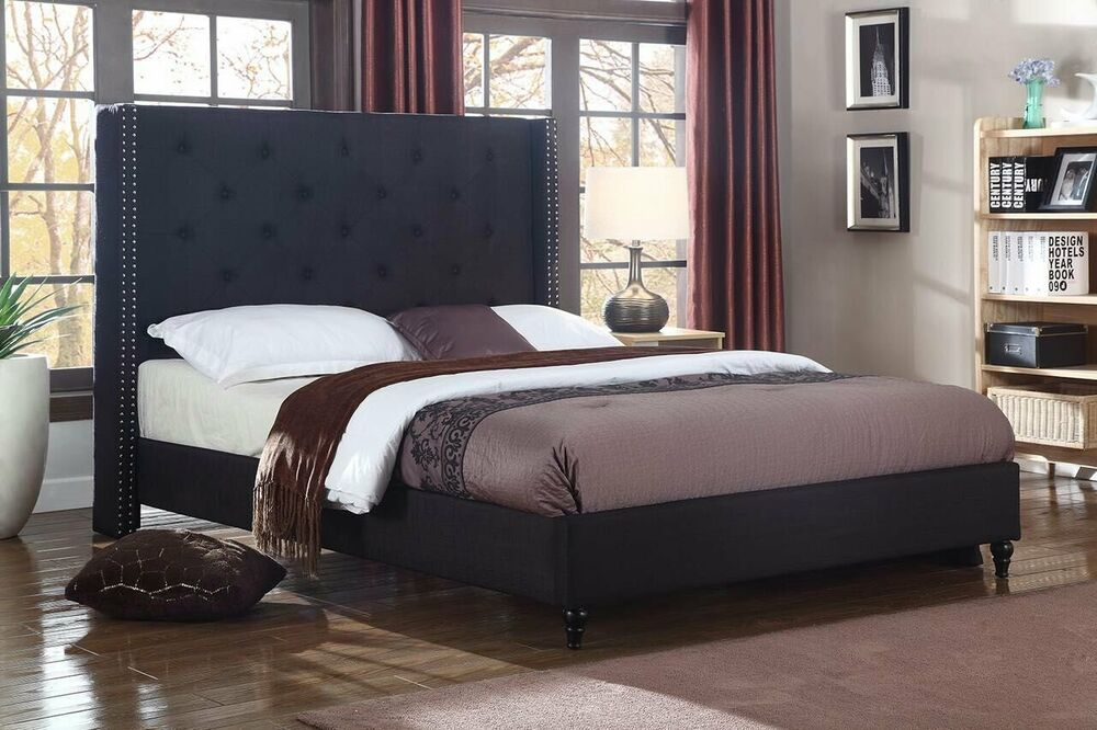 BLACK Fabric WingBack QUEEN Size Platform Bed Frame