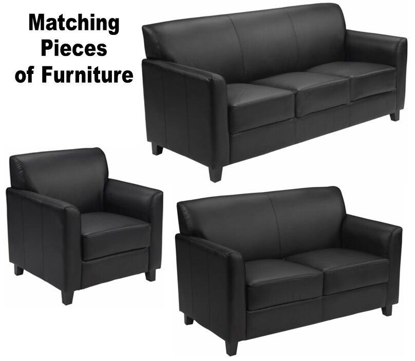 Matching Black Leather Furniture Sofa Loveseat Chair Sofas