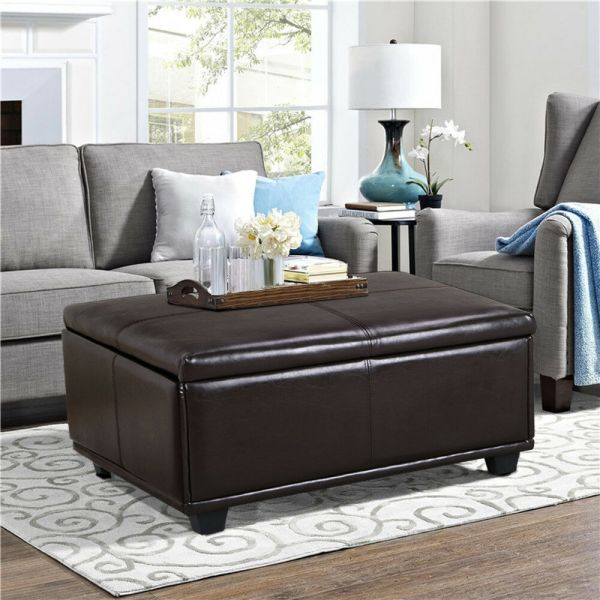 Brown Leather Storage Ottoman Coffee Table