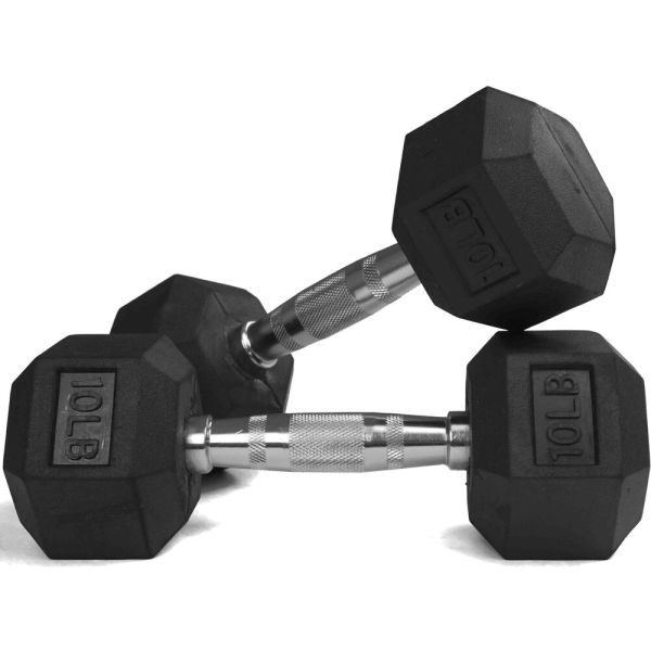 Pair 10 Lb Black Rubber Coated Hex Dumbbells Weight