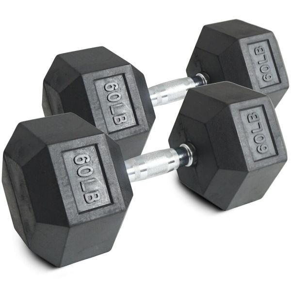 Pair 60 Lb Black Rubber Coated Hex Dumbbells Weight Training Set 120 Fitness
