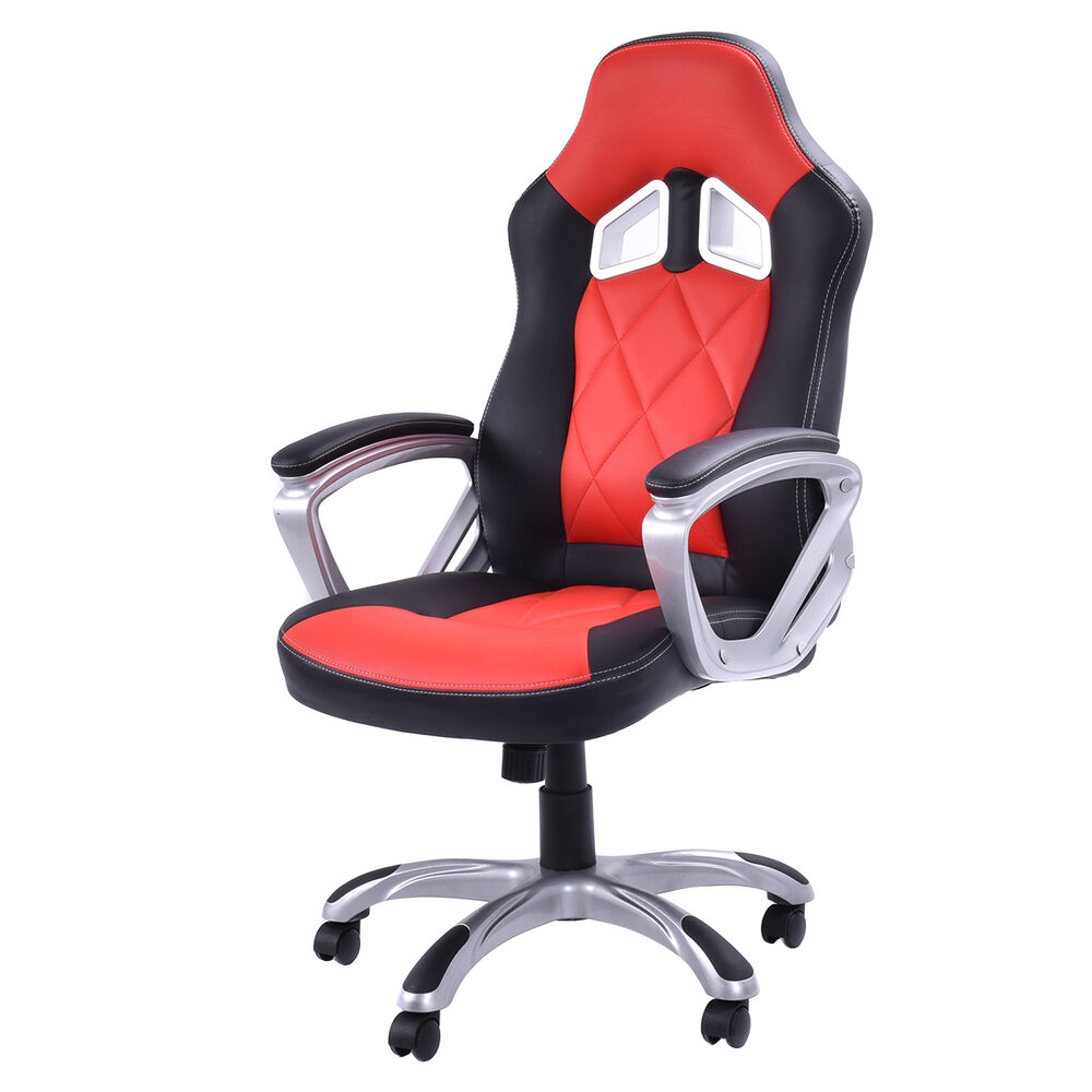 white leather swivel desk chair dunlop fishing high back racing style bucket seat gaming office task red new | ebay