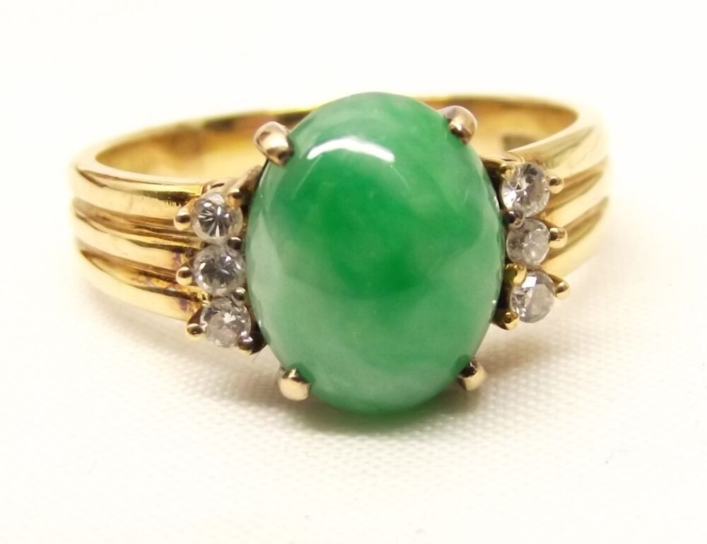 Vtg 14K Gold Green Jade Diamond Ring Sz 85 Jadeite