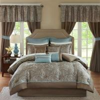 Deluxe Taupe Blue Paisley Comforter Window Curtains 24 pcs