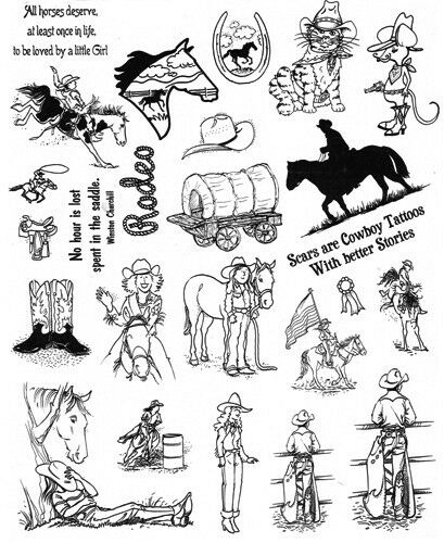 Unmounted Rubber Stamp Sheets Horse Stamps Rodeo