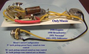 COMPATIBLE TO FENDER ESQUIRE (2 PICKUP) 1950 REPRODUCTION VINTAGE WIRING HARNESS | eBay