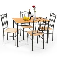 5 PC Dining Set Wood Metal Table and 4 Chairs Kitchen ...