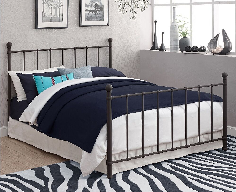 Metal Bed Frame Full Size W/ Headboard & Footboard Bronze