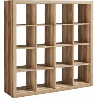 Storage Cube Organizer Weathered Bookcase 16 Cubbies ...