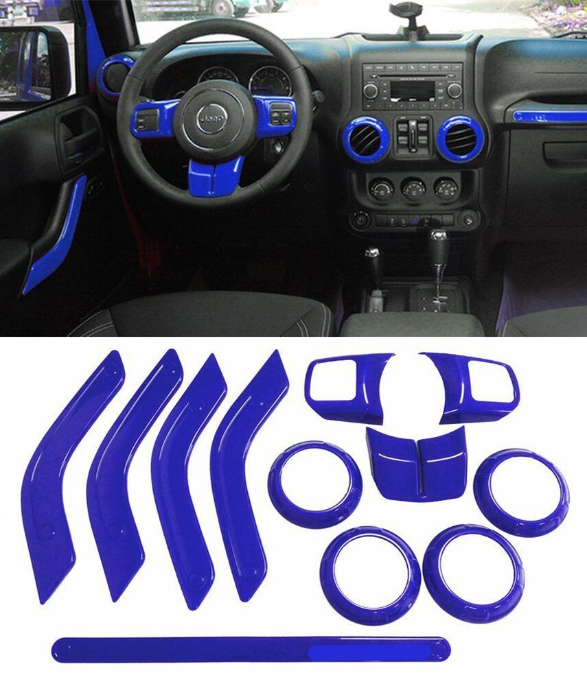 12x Blue Interior Car Accessories Decoration Trim For Jeep