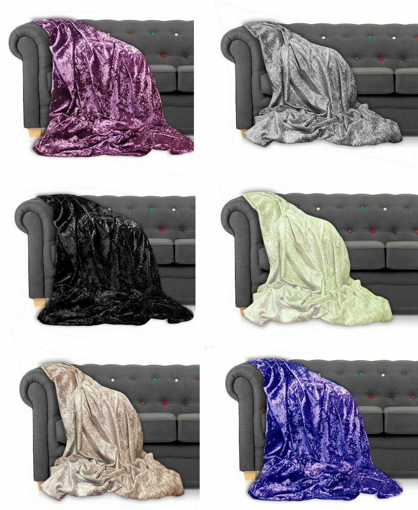 Throw Over Bedspread Crushed Velvet New Sofa Or Bed Throw