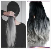 black grey syntheic ombre straight