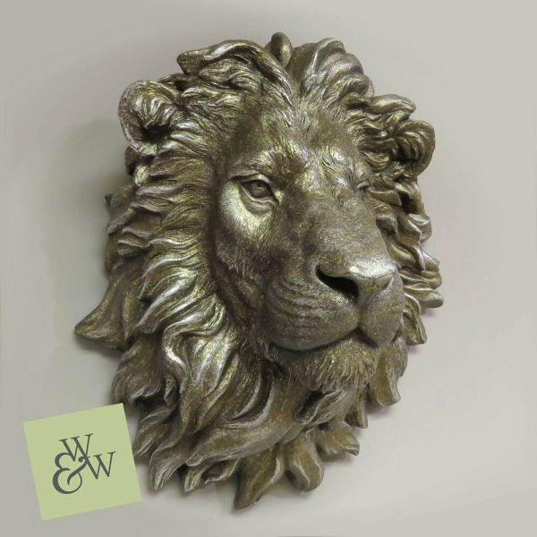 Large Lion Head Wall Mounted Bust Antique Bronzed Art