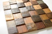 Decorative 3D Wood Mosaic Panels For Wall, Solid Reclaimed ...