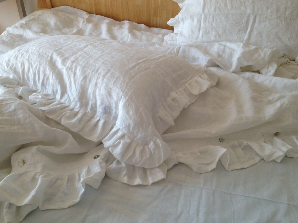 Shabby Pre washed Natural 100 Linen Ruffle Pillow sham