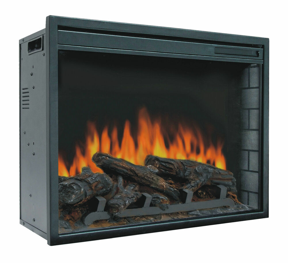 23 Electric Firebox Insert  with Fan Heater and Glowing Logs for Fireplace  eBay