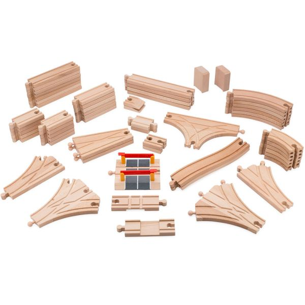 Playbees Wooden Train Track Toy Set 59 Pieces Compatible