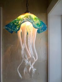 Hand Blown Glass Chandelier - Jellyfish Light - Art Glass ...