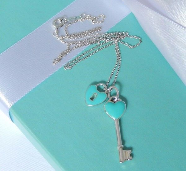 Tiffany & Silver Blue Enamel Key Hole Heart Lock