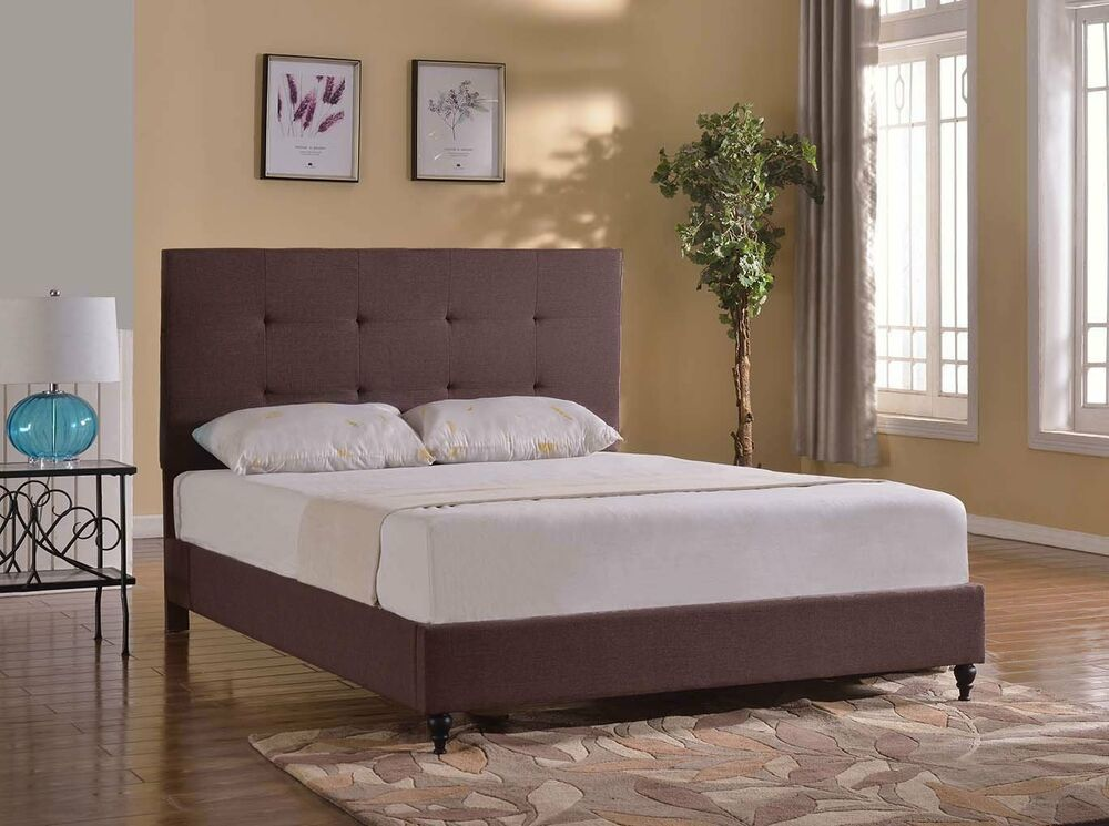 TWIN FULL QUEEN KING Size BROWN Platform Bed Frame & Slats