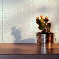 Kitchen Backsplash White Decorative Vinyl Panel Wall Tiles ...