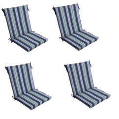 Dining Chair Pad Replacement Cross Back Chairs Blue Stripe Patio Cushion Set Of 4 Outdoor Cushions Sea | Ebay