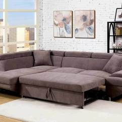 Pull Out Sofa Bed Sectional Long Bench Versatile Flannelette Fabric Brown ...
