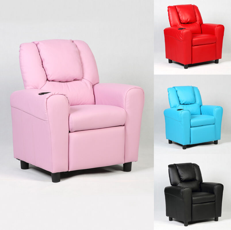 Kids Recliner Sofa Armchair Seat Couch Chair wCup Holder Home Furniture US  eBay